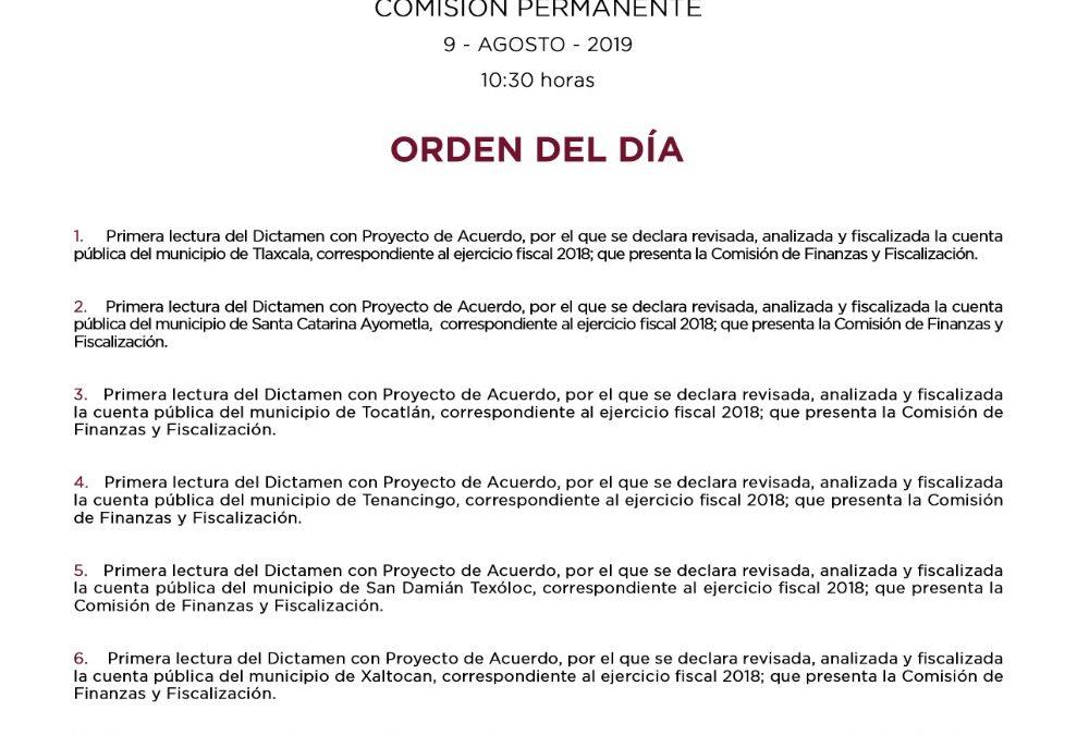 SESIÓN EXTRAORDINARIA PÚBLICA 09 DE AGOSTO DEL 2019