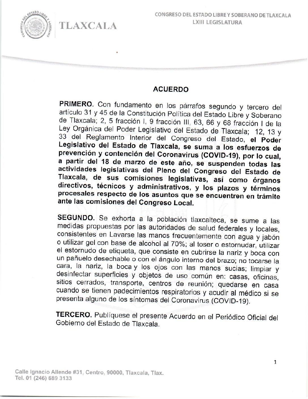 ACUERDO DEL CONGRESO PARA SUMARSE A LAS MEDIDAS PREVENTIVAS CONTRA EL COVID – 19